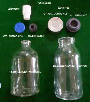 100cc Glass Crimp Bottle